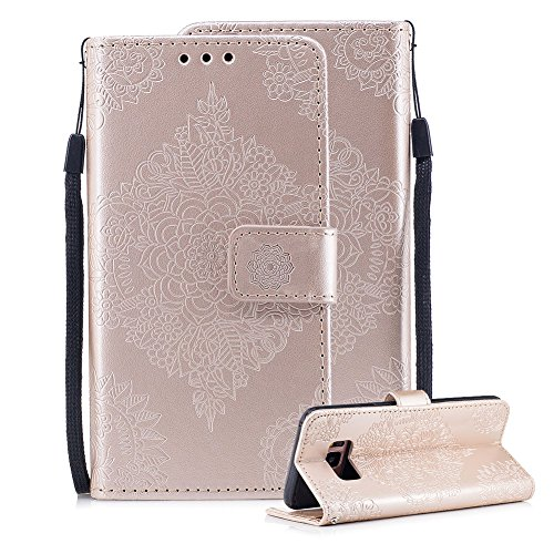 For Samsung Galaxy S8 Leather Wallet Case, Aearl 3D Porcelain Embossed Design ID Credit Card Holder Pocket Phone Case Magnetic Kickstand TPU Bumper Shell with Hand Strap for Samsung Galaxy S8 - Gold ()