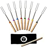 Telescoping Marshmallow Roasting Forks - Set of 8 Skewers For Smores, Hot ...