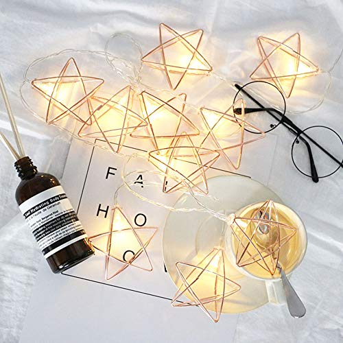 BUSOH Rose Gold Geometric Lights Metal Star [ 10 FT 20 LED ] Battery Operated Boho Led Fairy Lantern String Lights Ornament for Indoor Decor/Bedroom//Festival/Party/Patio