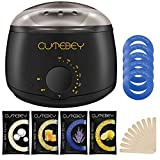 CUTEBEY Hair Removal Waxing Kit,  Wax Warmer with 4 Hard Wax Beans and 10 Wax Applicator Sticks, Natural wax of Legs, Face, Body, Bikini Area for Home Use