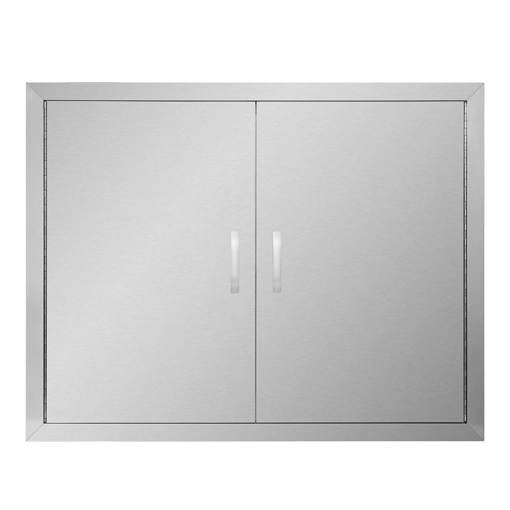 APWONE Outdoor Kitchen Access Doors Double BBQ Island 304 Stainless Steel Doors Cabinet Door Flush Mount with Removable Chromium Plated Handle - 31'' X 24''