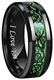 Crownal 6mm 8mm Blue/Green Carbon Fiber Black Celtic Dragon Tungsten Carbide Wedding Band Ring Engraved ''I Love You'' (8mm,10)