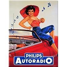 FRENCH VINTAGE METAL SIGN 20X15cm RETRO AD PHILIPS RADIO - M803