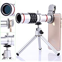 Camera Lens kits,WMTGUBU 4 in 1 HD Universal Clip-On Phone 18X Optical Zoom Telephoto Lens+18X Super Macro Lens+0.6X Wide Angle Lens Tripod for iPhone Huawei Ipad Tablet PC Laptops(Silver)