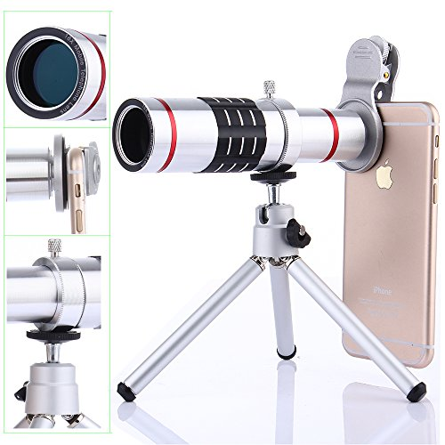 Camera Lens Kit,WMTGUBU 4 in 1 HD Universal Clip-On Phone 18X Optical Zoom Telephoto Lens+15X Super Macro Lens+0.6X Wide Angle Lens Tripod Phone Samsung Huawei Tablet PC Laptops (Silver)