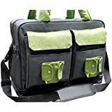 Double Stroller Twins Messenger Diaper Bag, Inside Divided Into Two Sections, Four Interior Foil Insulated Baby Bottle Holders, Shoulder Strap Long Enough to Wear Across Body, Extra Large Changing Pad and Wet Bag, Rubber Feet