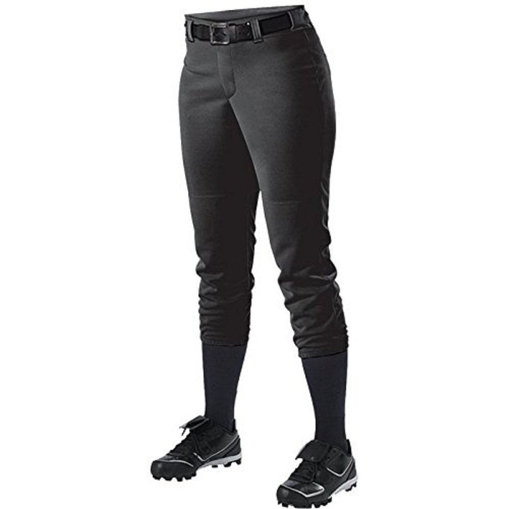 Alleson Athletic Women 's Softball Pants withベルトループ B00FFSEHS8 Small|ブラック ブラック Small