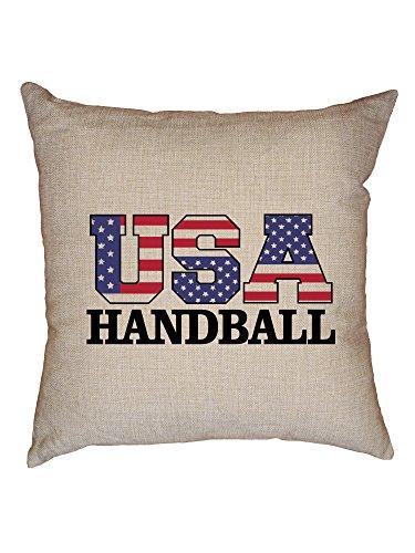 Hollywood Thread USA Handball - Olympic Games - Rio - Flag Decorative Linen Throw Cushion Pillow Case with Insert