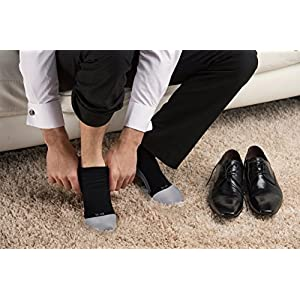 Knee High Compression Socks for Men & Women by AprilTex. Helps Blood Clots, Plantar Fasciitis, Pain, Swollen Feet & Varicose Veins. Long Hours Support Hose - Pregnancy, Travel, Flight, Nurse (Black,L)