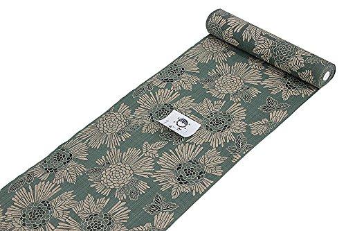 2018年 竺仙謹製 女物浴衣 反物 緑×ベージュ 綿100% 松煙染 べんがら 栞小紋 本染め 日本製