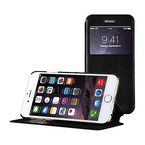EasyAcc iPhone 6s / 6 View Flip Cover Hülle mit Viewfenster und Standfunktion - Schwarz