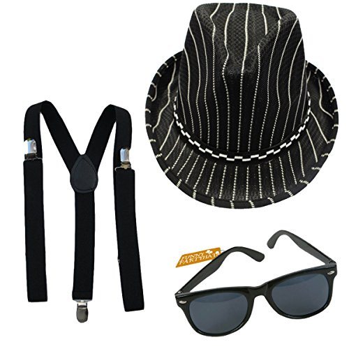 [Mobster Fedora Suspender and Sunglasses Bundle] (Fedora Gangster Hat)