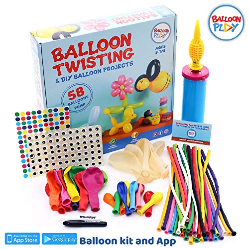 (BalloonPlay Balloon Animal Kit with Bonus Balloon App with 40+ instructional Balloon Videos 58 quality balloons 4 different types pump markers stickers fun balloon activity kits for all ages)