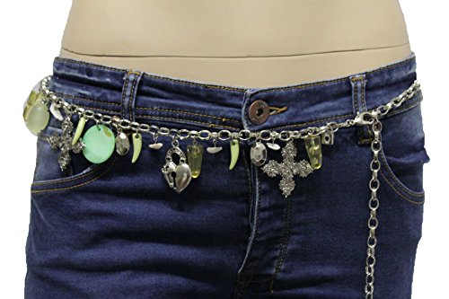 TFJ Women Fashion Belt Hip Waist Silver Metal Horns Cross Lock Heart Beads S M L (Heart Lock Belt)
