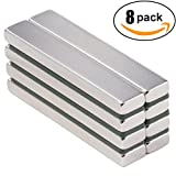 Powerful Neodymium Bar Magnets, Rare-Earth Metal Neodymium Magnet, N45, Incredibly Strong 33+ LB Strength - 60 x 10 x 5 mm, Pack of 8
