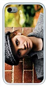 Emma Watson iPhone 4 Case Fits iPhone 4 4S - Abstract Happy Thing White PU Rubber Skin Case for iPhone 4 4S