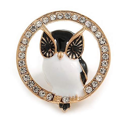 - Adorable Black/White Enamel Owl in The Crystal Circle Brooch in Gold Tone Metal - 35mm Diameter