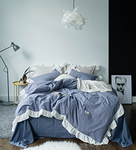 SUSYBAO 3 Pieces Vintage Ruffle Duvet Cover Set Queen Size European Rural Princess Bedding 1 Duvet Cover 2 Pillow Shams Blue Sweat Romantic Solid Luxury Elegant Striped Bedding For Girls