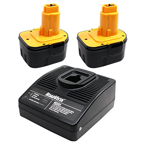 2-Pack DeWalt DW9071 Battery + Universal Charger for Dewalt - Replacement DeWalt 12V Battery and Charger (1300mAh, NICD)