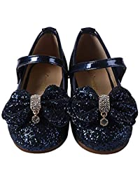 Girls Mary Jane Glitter Ballerina Flat Shoes 170 Blue32
