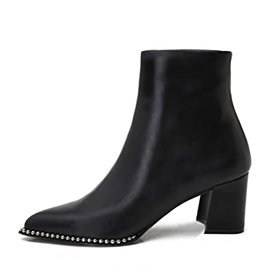 Women's Genuine Leather Low Heel Ankle Boots Pointed Toe Zip Up Stylish Chain Autumn Winter Short Booted