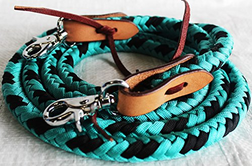 PRORIDER Horse Roping Tack Western Barrel Reins Nylon Braided Leather Turquoise 607230