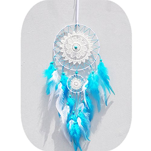 Blue Dream Catcher Feather Wall Hanging Ornament by IEVE ~ Length 15.7 Inch Diameter 5.9 Inch