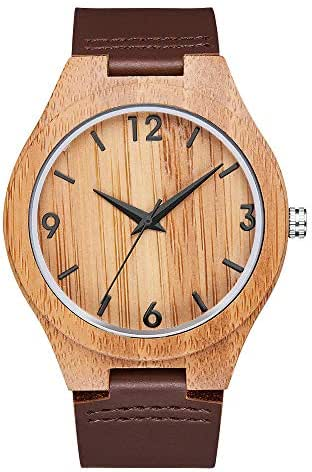 LJ Exclusive The Best eather and Wooden Watch (Brown)