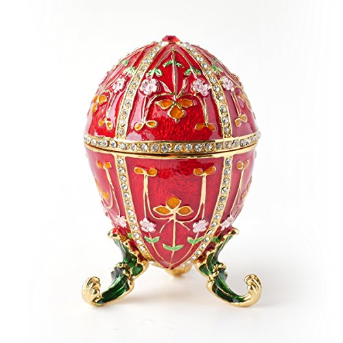 Apropos Hand- Painted Vintage Style Floral Faberge Egg with Rich Enamel and Sparkling Rhinestones Jewelry Trinket Box (Red - Floral Box Enamel