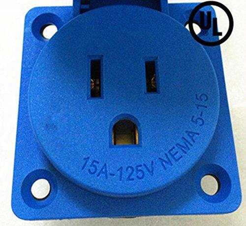 Waterproof Panel Mount,Generator NEMA 5-15R Socket & Receptacle,15A 125V,Grdg (ETA:7-12 WORK DAYS)
