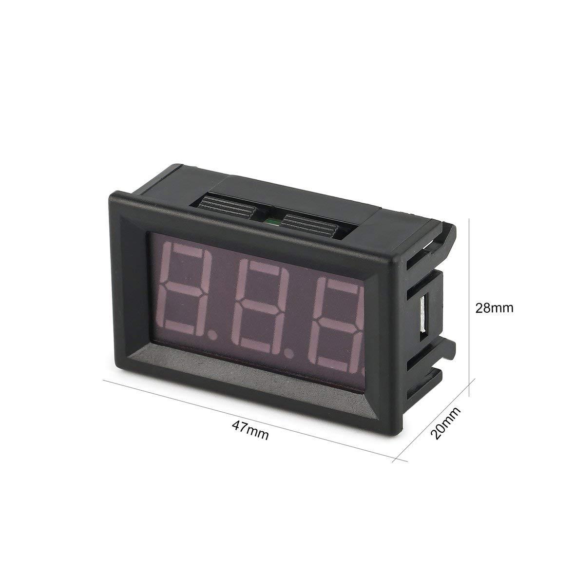 Heaviesk Digital Voltage Meter 0-100V 0.56in 3 Wire LED Digital Display Panel Volt/ímetro Electric Voltage Meter Volt Tester para Auto Battery Car Motorcycle