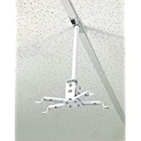 ALZO Short Suspended Drop Ceiling Video Projector Mount with Scissor Clamp for T-Bar Attachment with 10 Inch Drop