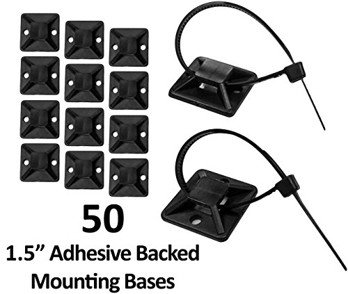 """1.5"""" Adhesive Backed Mounting Bases - 50 Pieces - Color: Black"""
