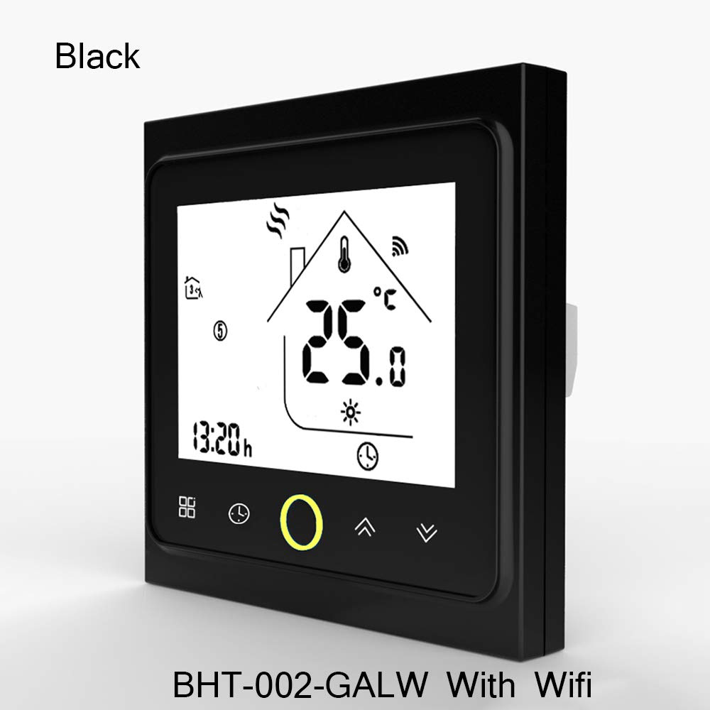 WiFi Thermostat Temperature Controller for Water/Electric Floor Heating Water/Gas Boiler Compatible with Alexa Google Home 3A 16A (BHT-002-GALW with WiFi, White) okdeals