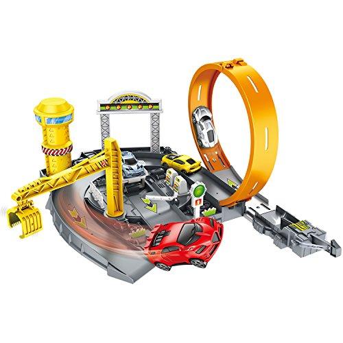 SIMREX Assembling Rail Cars, Parking Garage Playset Assembling Racing Tracks Toys Models Vehicle Playsets Kids