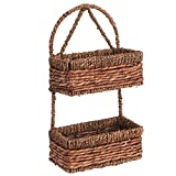 hanging basket 2 tier - Hand-woven Seagrass 14-Inch Wall Hanging 2-Tier Storage Basket, Brown