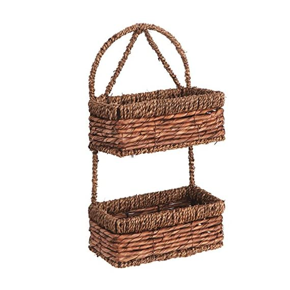 MyGift Hand-Woven Seagrass 14-Inch Wall Hanging 2-Tier Storage Basket, Brown - Decorative hanging woven basket for organizing clutter in the bathroom and around your home. Vertical wall mount saves space while giving you extra storage. Natural two-tone classic country design style to match any home. - living-room-decor, living-room, baskets-storage - 51P7H925tkL. SS570  -