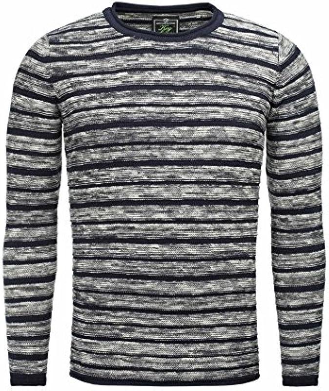 KEY LARGO męski sweter z dzianiny Advance Oversize krÓj okrągły dekolt w paski okrągły dekolt długi rękaw męski elastyczny (St00252), kolor: grantowy , rozmiar: s: Odzież