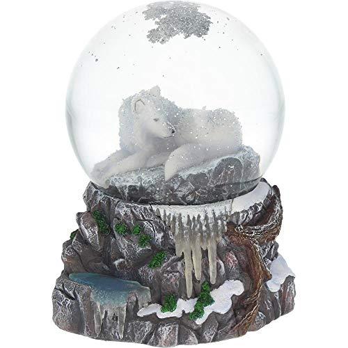 Lisa Parker - Guardian Of The North Snowglobe - White Wolf Snowglobe (Wolf Water Globe)