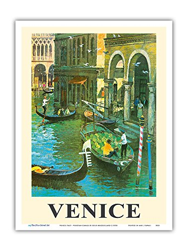 Pacifica Island Art Venice Italy - Venetian Canals - Gondolas - Vintage World Travel Poster by Louis Macouillard c.1950s - Master Art Print - 9in x 12in