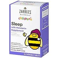 La tableta masticable del sueño de los niños de Zarbee's Naturals con melatonina, sabor natural de la uva, 30 tabletas masticables