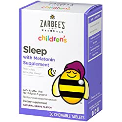 Zarbee's Naturals Children's Sleep with Melatonin Supplement, Chewable Tablets, Natural Grape Flavor, 30 Count