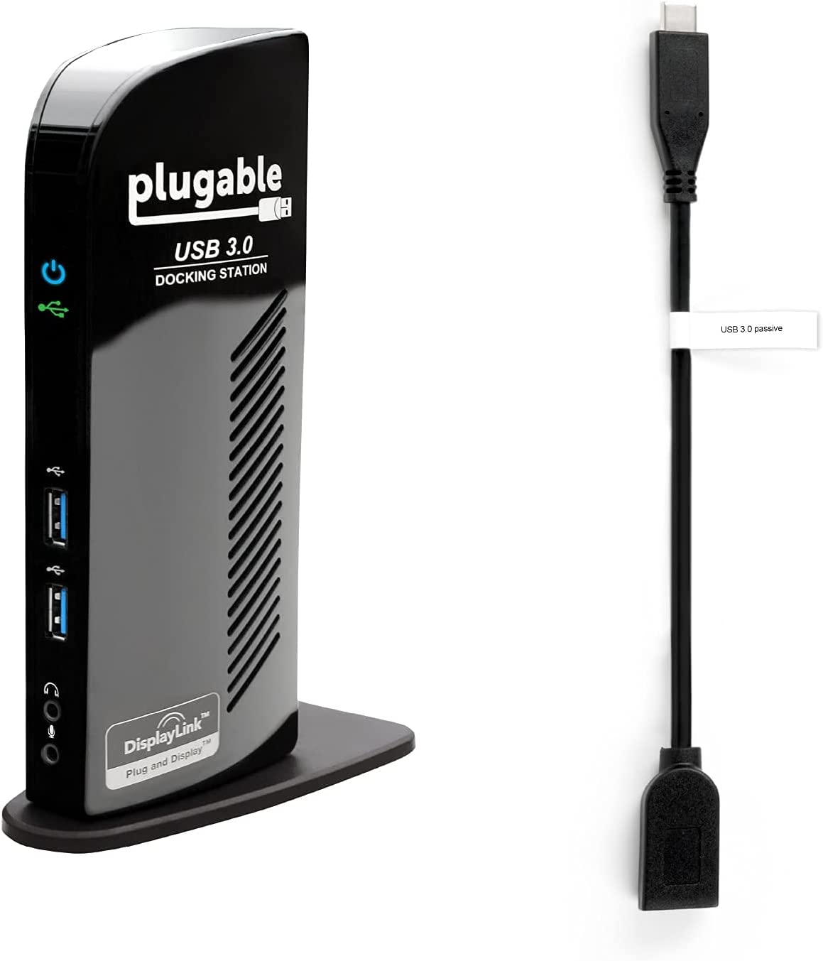 Plugable USB 3.0 Universal Laptop Docking Station Dual Monitor Bundle with USB C to USB A Adapter Cable for Windows and Mac (Dual Video: HDMI and DVI/VGA/HDMI, Gigabit Ethernet, Audio, 6 USB Ports)