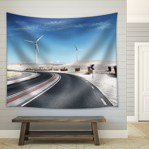 Scenic Winding Road with Wind Turbines Fabric Wall Tapestry