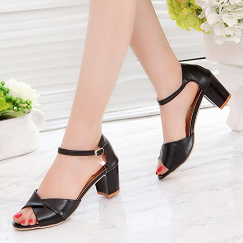 Muium Women Fashion Sandals, Ladies Platform Wedge Mid Heeled Sandals Open Toe Ankle Strap Party Shoes Black