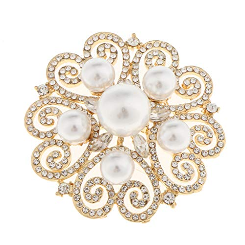 Vintage Flower Brooch Pin Crystal Rhinestone Bridal Pearl Broach Wedding (Color - Gold) -