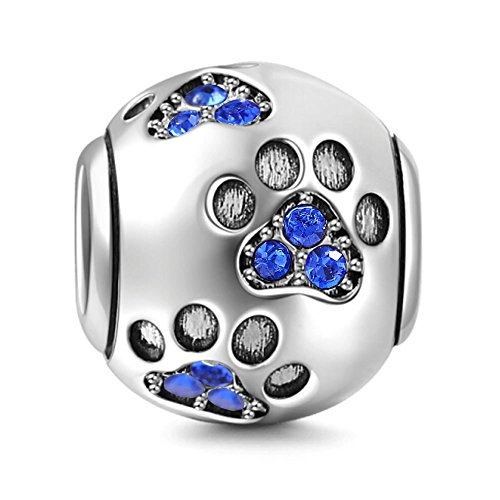Dog Paw Charm 925 Sterling Silver Pet Charm Heart Beads fit for Fashion Charms Bracelets (Blue Dog Beads)