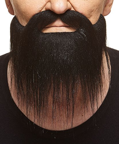 Long Boxed black fake beard, self adhesive