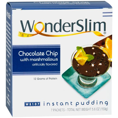 WonderSlim Low-Carb High Protein Instant Diet Pudding Mix - Chocolate Chip Marshmallows (7 servings/box) - Low Carb, Low Calorie, Low Fat