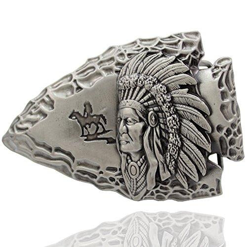 - Q&Q Fashion Men Vintage Silver Tribal 3D Indian Chief Arrow Rodeo Costume Aztec Belt Buckle
